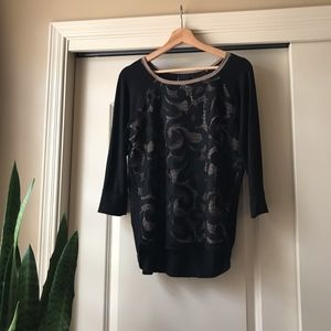 Anthropologie Dolanl lace-front 3/4 tee